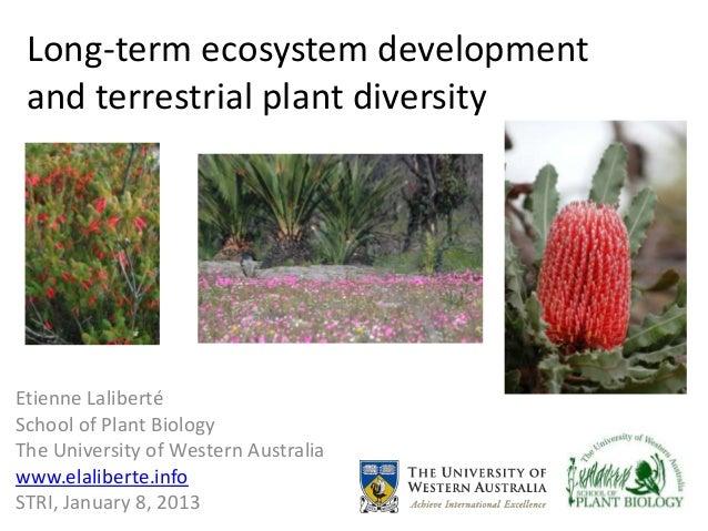 Long-term ecosystem development and terrestrial plant diversityEtienne LalibertéSchool of Plant BiologyThe University of W...
