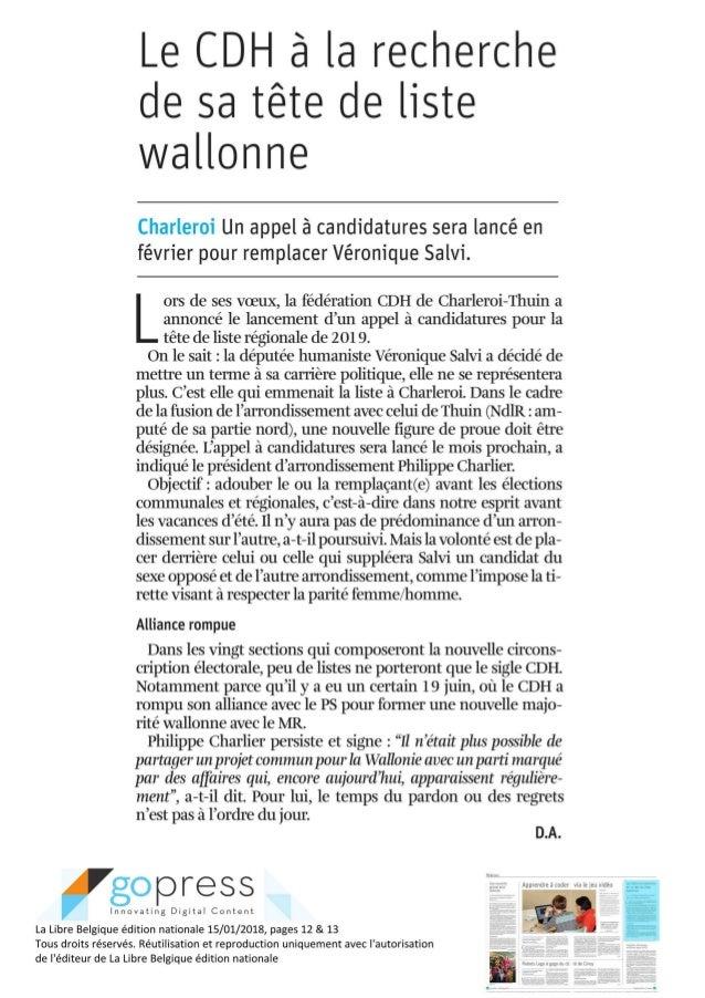 La libre - Le  cdh à la recherche d'une nouvelle tête de liste wallonne -janv 2018