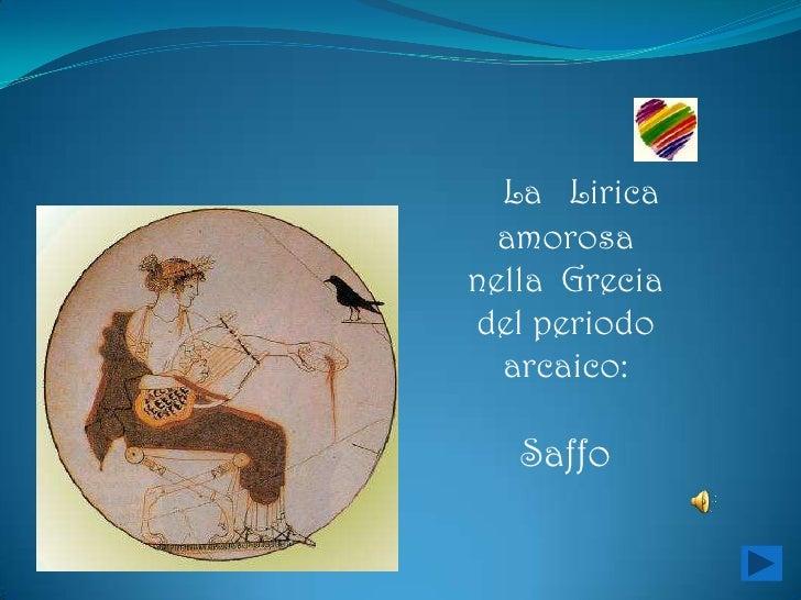 La lirica amorosa nella grecia del periodo arcaico