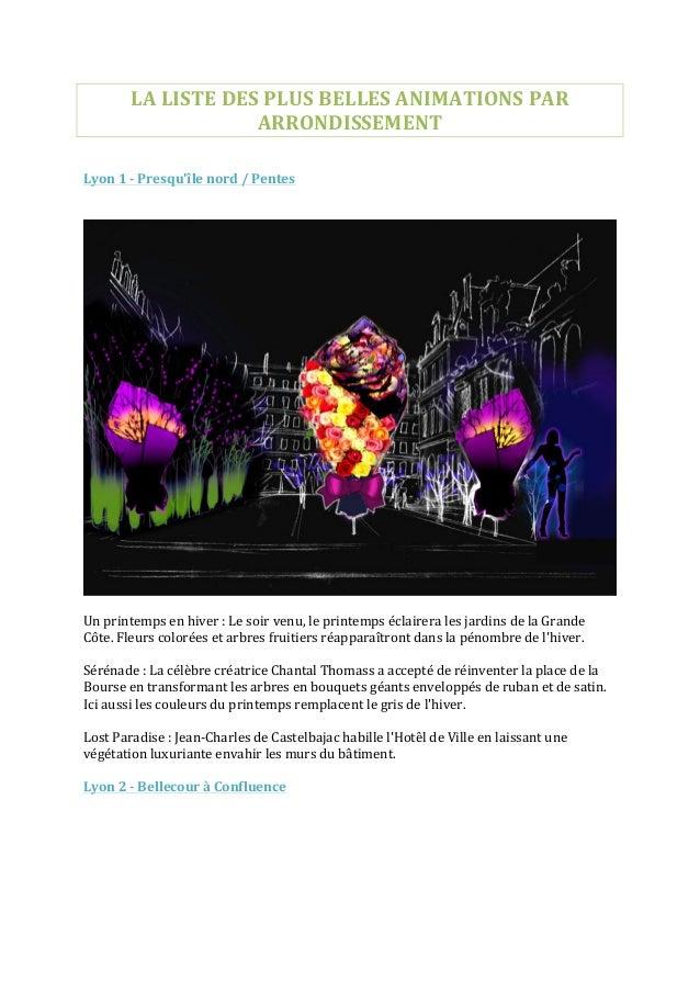 LA  LISTE  DES  PLUS  BELLES  ANIMATIONS  PAR   ARRONDISSEMENT         Lyon  1  -‐  Presqu'île...