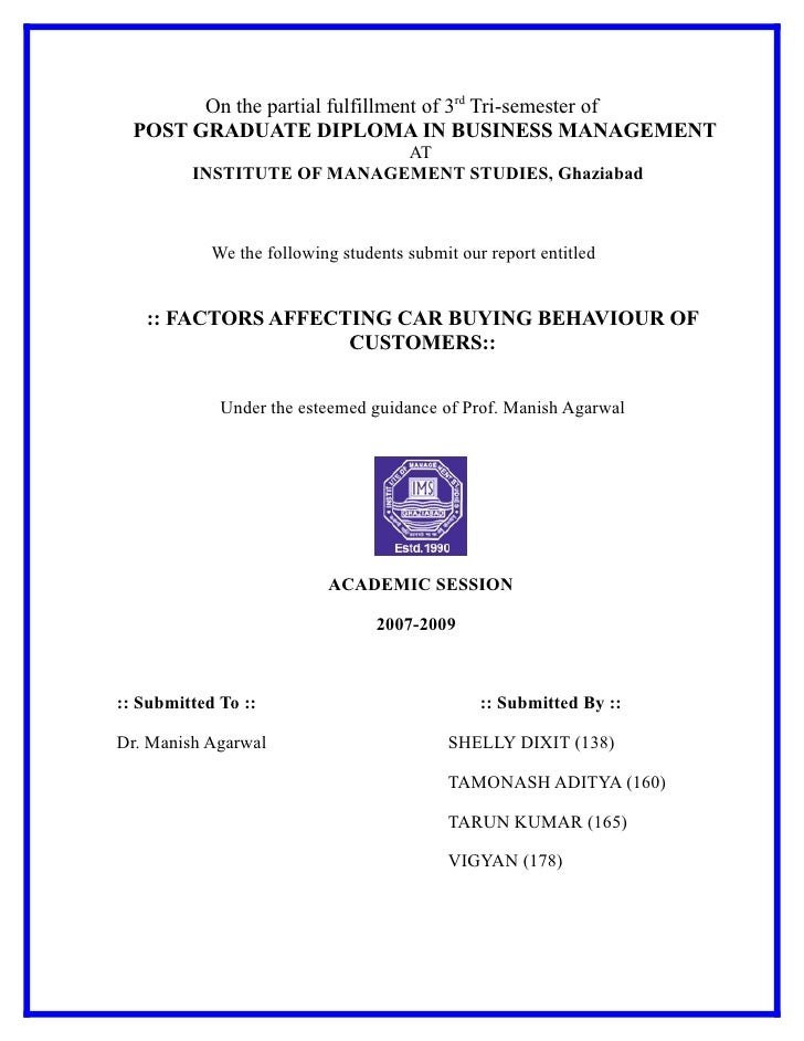 On the partial fulfillment of 3rd Tri-semester of   POST GRADUATE DIPLOMA IN BUSINESS MANAGEMENT                          ...