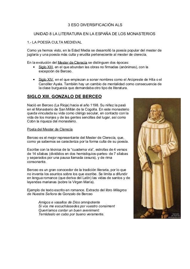 3 ESO DIVERSIFICACIÓN ALSUNIDAD 8 LA LITERATURA EN LA ESPAÑA DE LOS MONASTERIOS1.- LA POESÍA CULTA MEDIEVALComo ya hemos v...