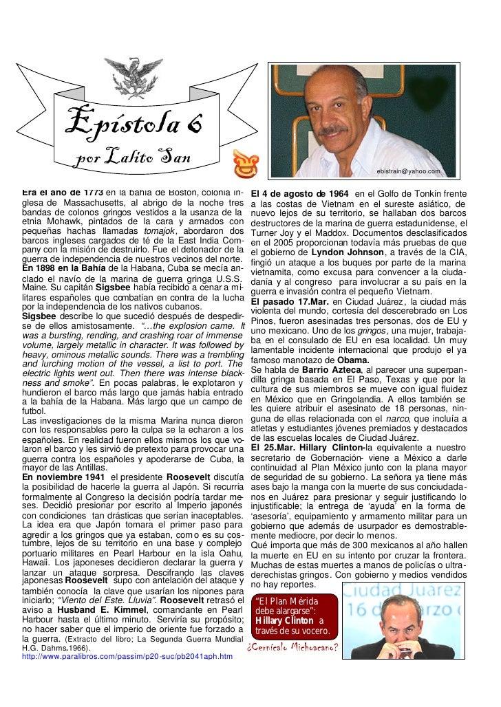 Epístola 6               por Lalito San                                                                ebistrain@yahoo.com...
