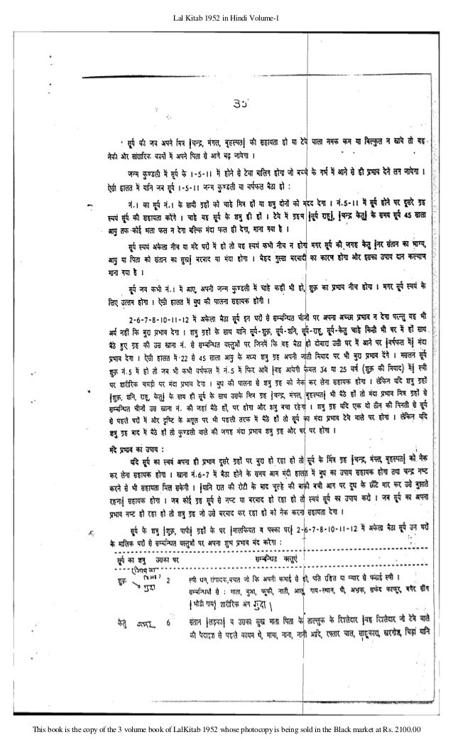 Lal Kitab 1952 In Hindi Pdf