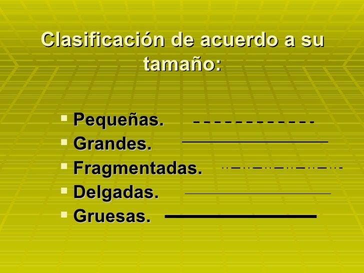 Clasificación de acuerdo a su tamaño: <ul><li>Pequeñas. </li></ul><ul><li>Grandes. </li></ul><ul><li>Fragmentadas. </li></...