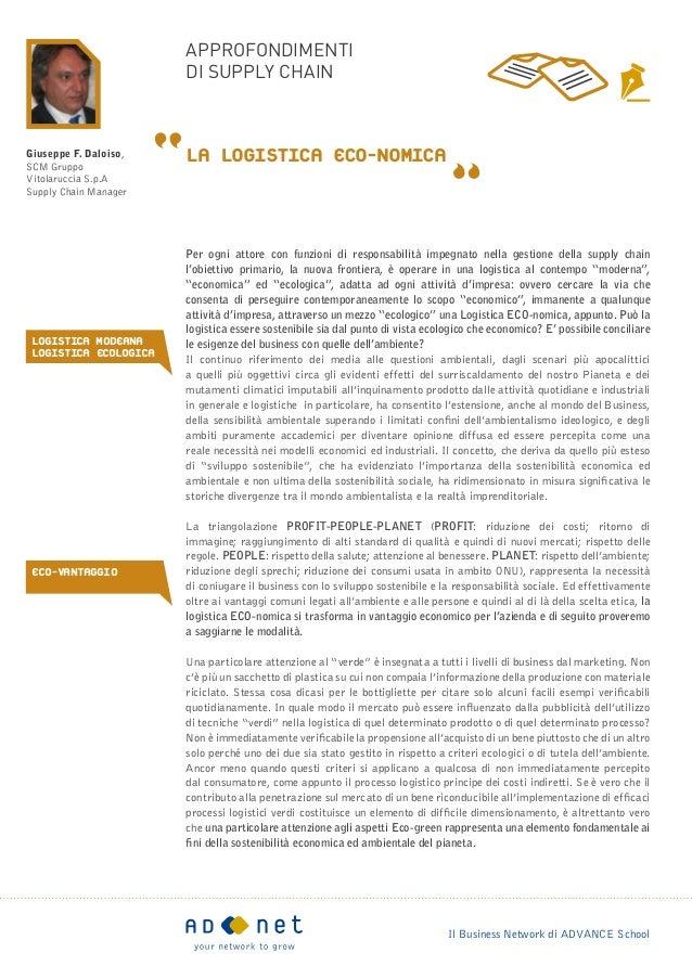 approfondimenti                       di supply chainGiuseppe F. Daloiso,SCM Gruppo                       La Logistica ECO...