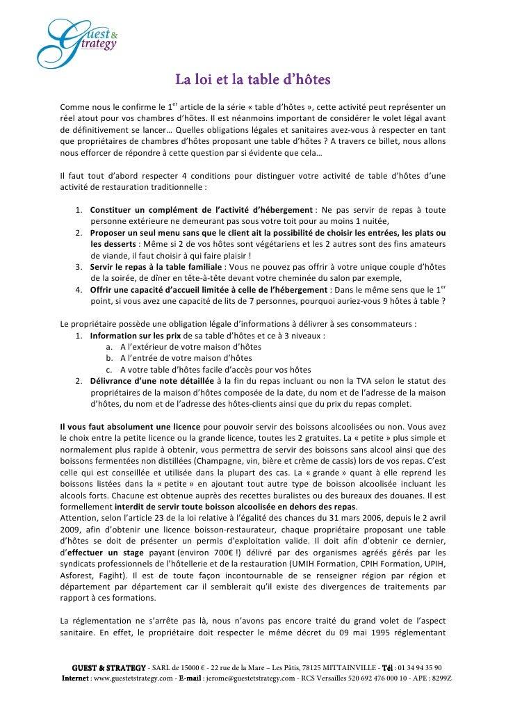 La loi et la table d 39 h tes pour r ussirsamaisondhotes for Loi chambre hote