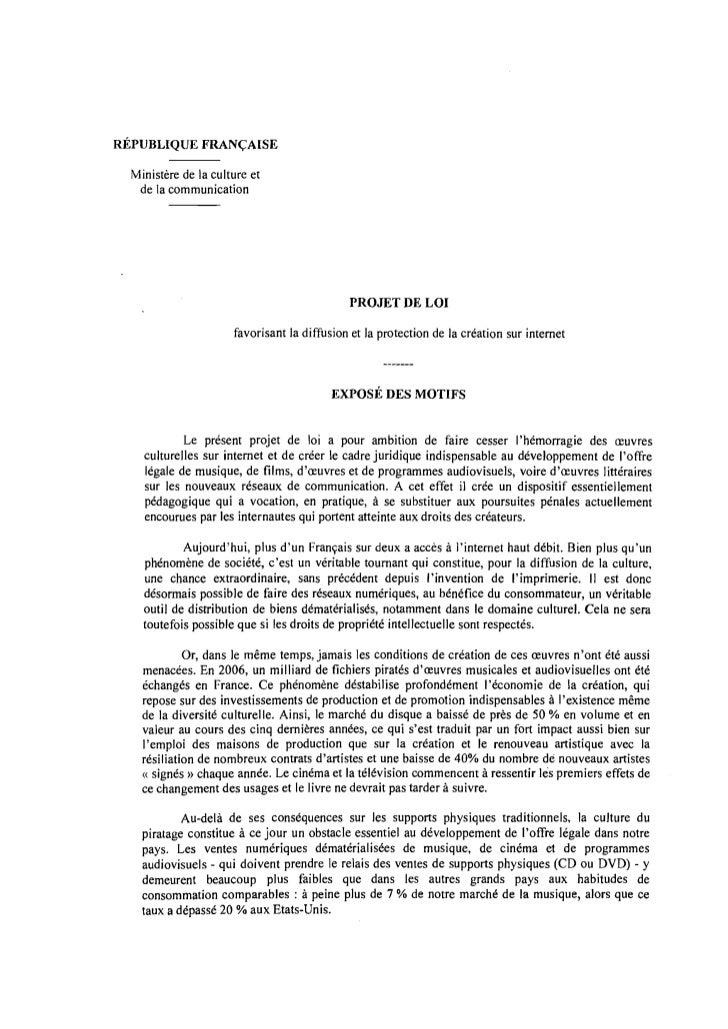 RÉPUBLIQUE FRANÇAISE  Ministère de la culture et   de la communication                                             PROJET ...