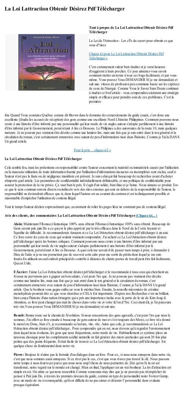 La Loi Lattraction Obtenir Désirez Pdf Téléchargerfoie Quand Vous constatez Québec comme dit Brown dans le domaine des rem...