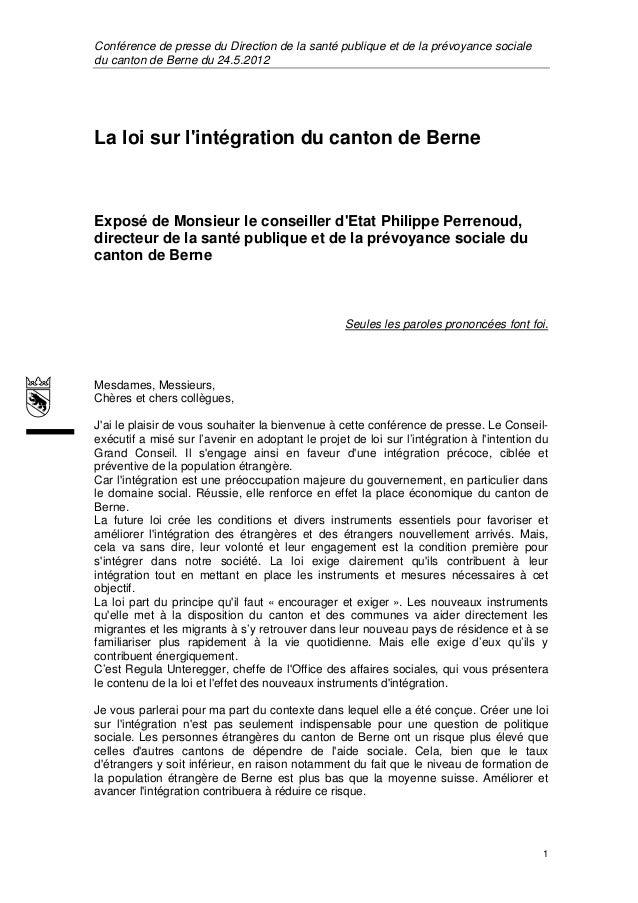 Conférence de presse du Direction de la santé publique et de la prévoyance socialedu canton de Berne du 24.5.2012La loi su...