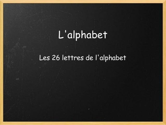 L'alphabet Les 26 lettres de l'alphabet