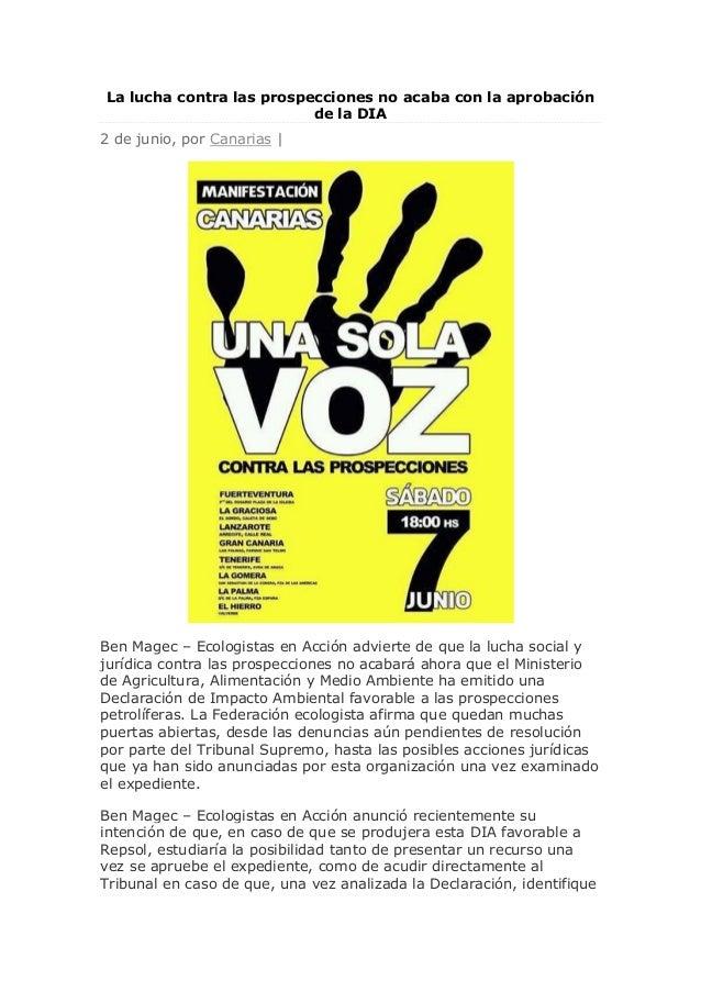 La lucha contra las prospecciones no acaba con la aprobación de la DIA 2 de junio, por Canarias | Ben Magec – Ecologistas ...