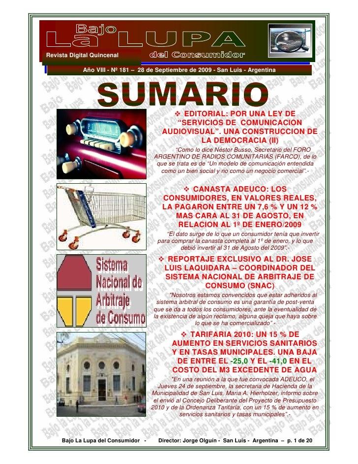 Revista Digital Quincenal              Año VIII - Nº 181 – 28 de Septiembre de 2009 - San Luis - Argentina                ...