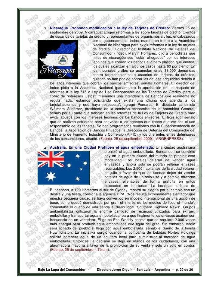 Nicaragua. Proponen modificación a la ley de Tarjetas de Crédito: Viernes 25 de       septiembre de 2009. Nicaragua: Exige...