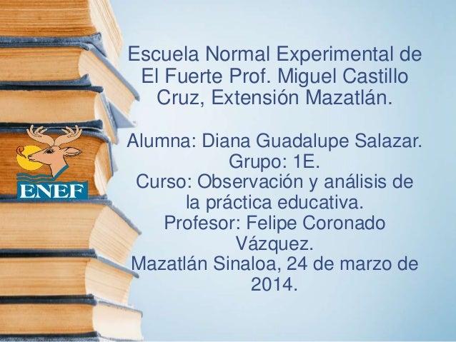 Escuela Normal Experimental de El Fuerte Prof. Miguel Castillo Cruz, Extensión Mazatlán. Alumna: Diana Guadalupe Salazar. ...