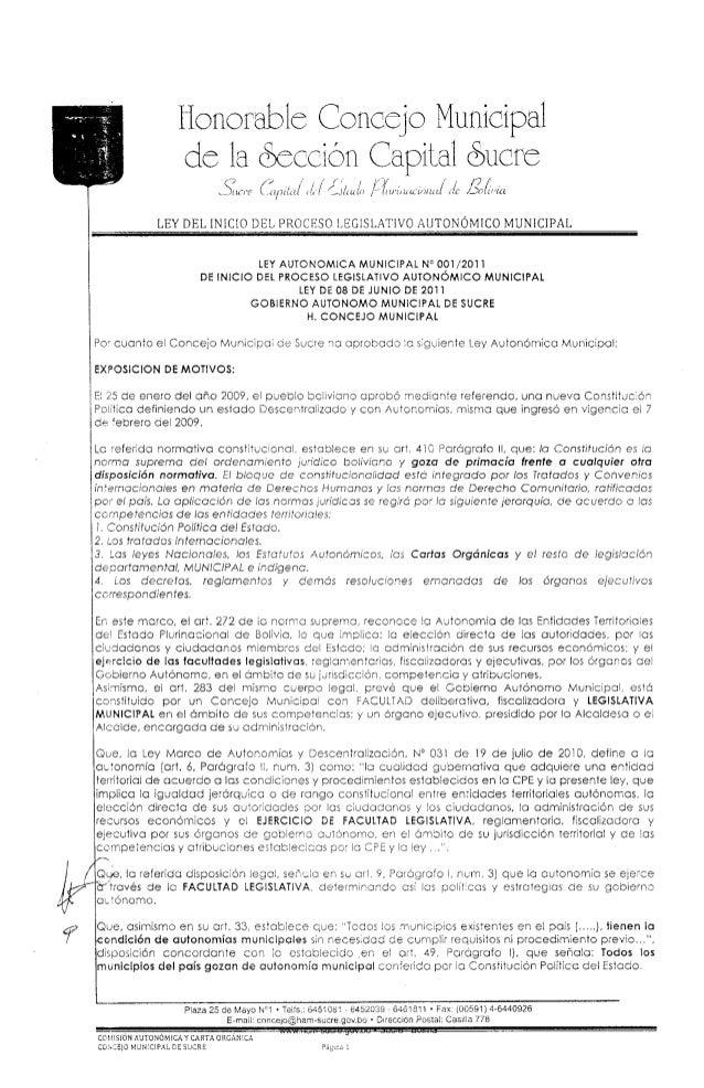 I l  iionortablc Concejo Municipal de la ooccion Capital (Sucre -520? I) I/ ¿Ilrulíi [íïrrinïiuwirr/ zrc/ firi/ c fiál/ {cï ...