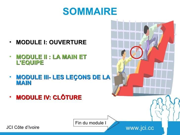 SOMMAIRE • MODULE I: OUVERTURE • MODULE II : LA MAIN ET   L'EQUIPE • MODULE III- LES LEÇONS DE LA   MAIN • MODULE IV: CLÔT...