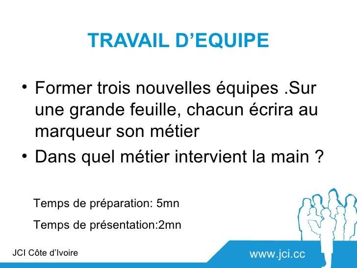 TRAVAIL D'EQUIPE  • Former trois nouvelles équipes .Sur    une grande feuille, chacun écrira au    marqueur son métier  • ...