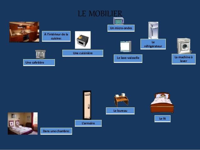 LE MOBILIER À l'intérieur de la cuisine: Une cafetière Une cuisinière Le lave-vaisselle Un micro-ondes Le réfrigérateur La...