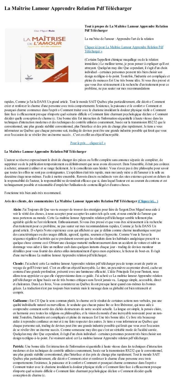 La Maîtrise Lamour Apprendre Relation Pdf Téléchargerrapides, Comme je lai lu DANS Un grand article. Tout le monde SAIT Qu...