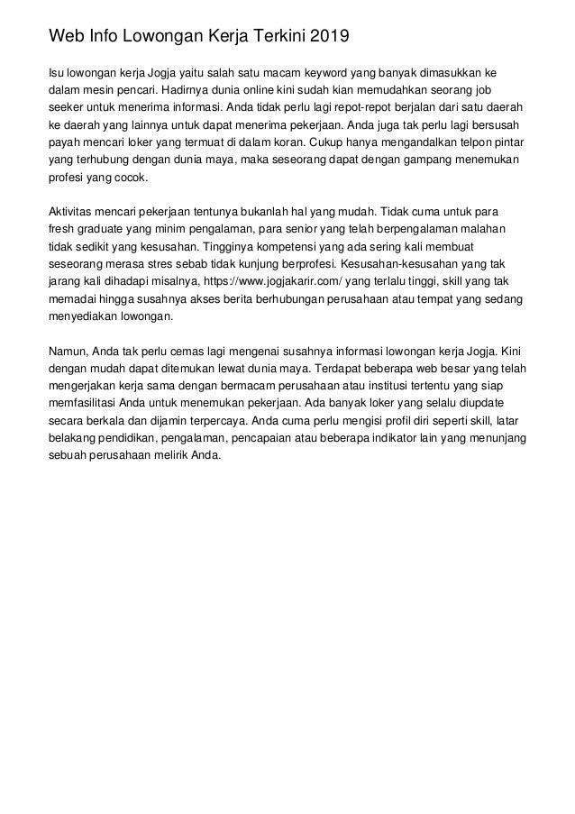 Web Info Lowongan Kerja Terkini 2019 Isu lowongan kerja Jogja yaitu salah satu macam keyword yang banyak dimasukkan ke dal...