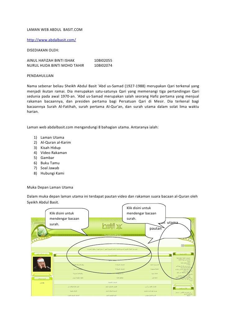 LAMAN WEB ABDUL BASIT.COMhttp://www.abdalbasit.com/DISEDIAKAN OLEH:AINUL HAFIZAH BINTI ISHAK           10BI02055NURUL HUDA...