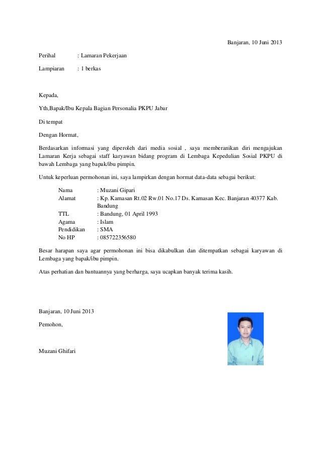 Contoh Surat Lamaran Di Pt - Contoh Raffa