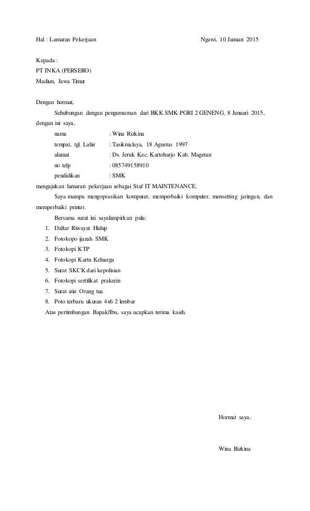Contoh Surat Lamaran Kerja Dari Bkk Sekolah Kumpulan Kerjaan
