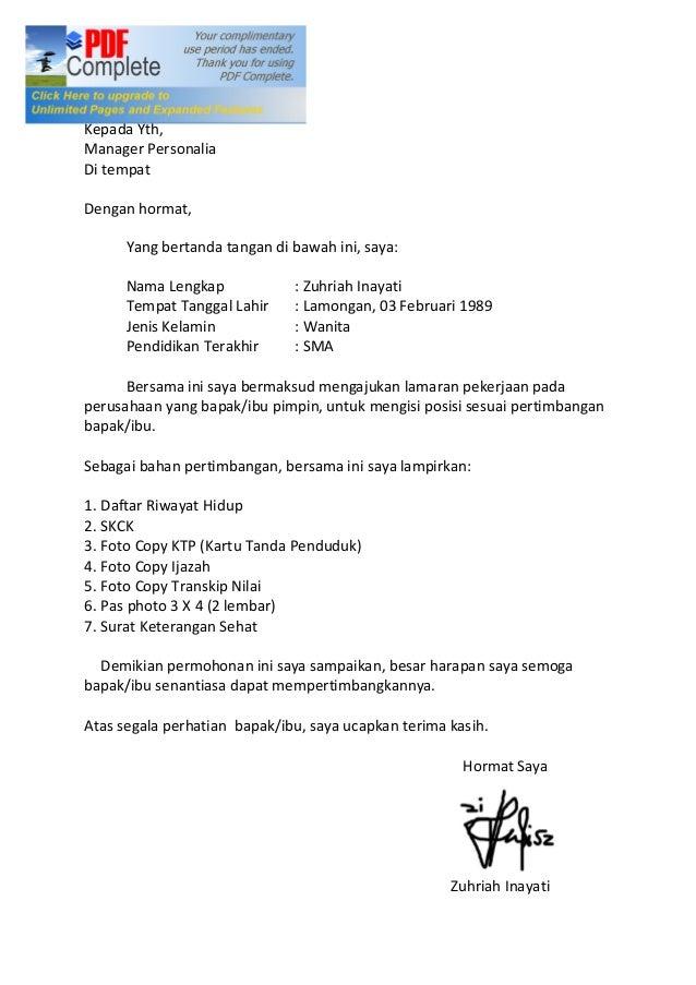 Bogor, 06 September 2013 Kepada Yth, Manager Personalia Di tempat Dengan hormat, Yang bertanda tangan di bawah ini, saya: ...