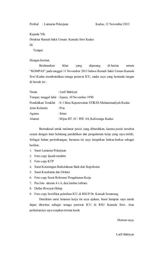 18 Contoh Surat Lamaran Kerja Untuk Perawat Di Rumah Sakit