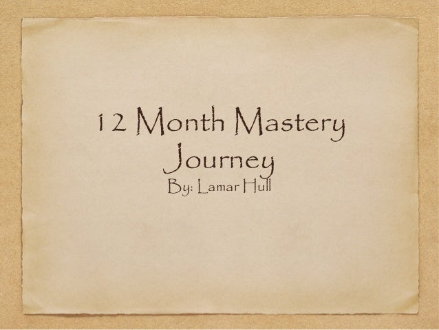 12 Month Mastery Journey By: Lamar Hull
