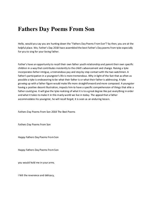 fathers day poems from son hello would you say you are hunting down the