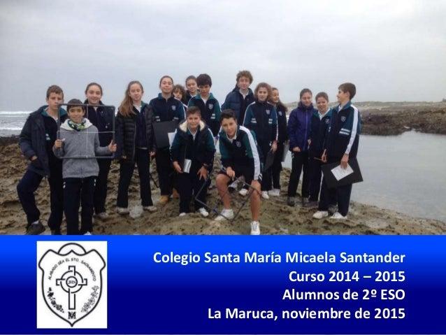 Colegio Santa María Micaela Santander Curso 2014 – 2015 Alumnos de 2º ESO La Maruca, noviembre de 2015