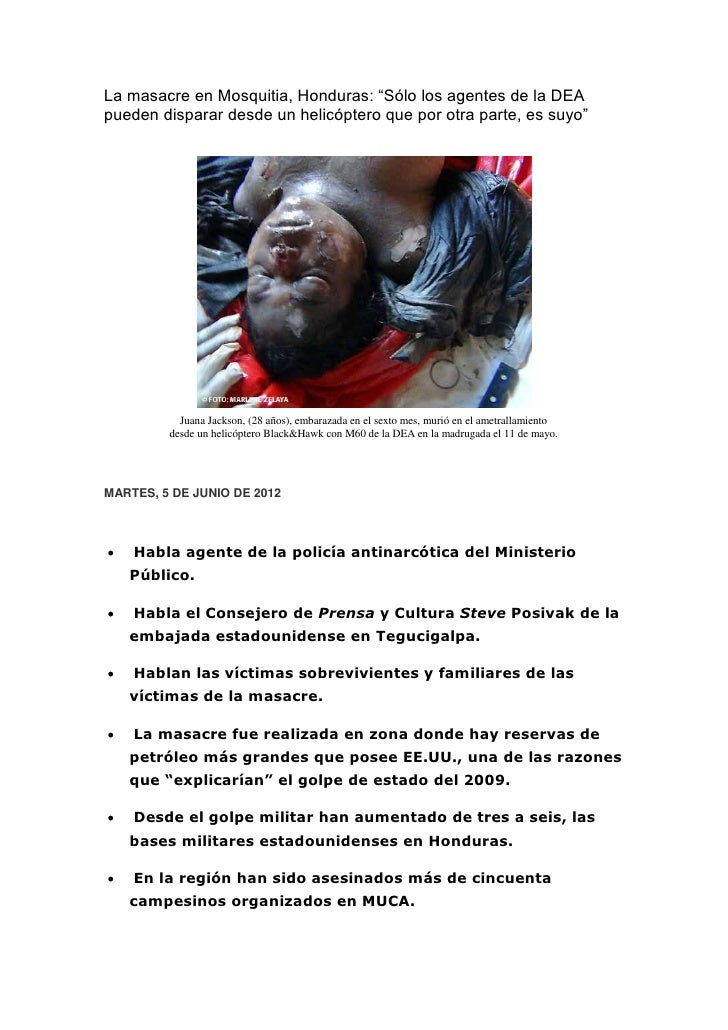 """La masacre en Mosquitia, Honduras: """"Sólo los agentes de la DEApueden disparar desde un helicóptero que por otra parte, es ..."""