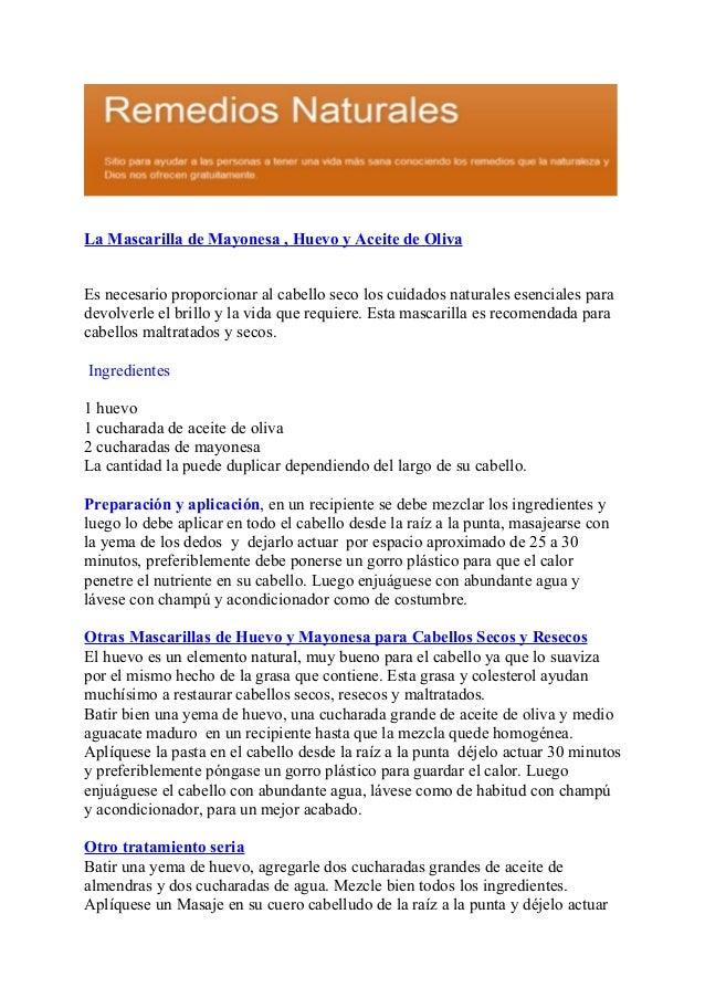 La Mascarilla De Mayonesa Huevo Y De Aceite De Oliva