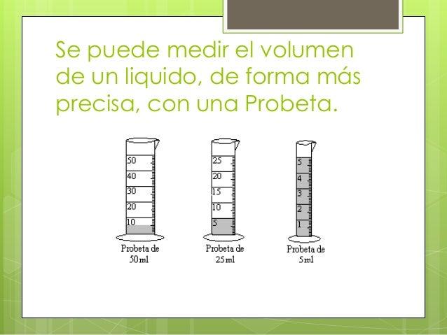 Se puede medir el volumen de un liquido, de forma más precisa, con una Probeta.
