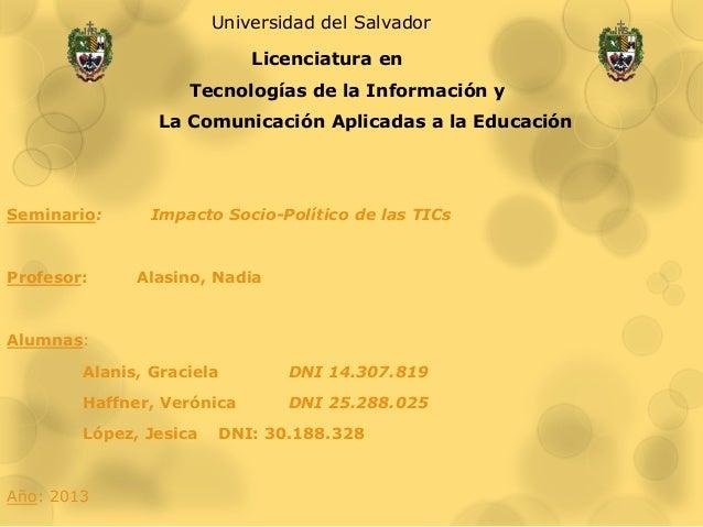 Universidad del Salvador                            Licenciatura en                    Tecnologías de la Información y    ...