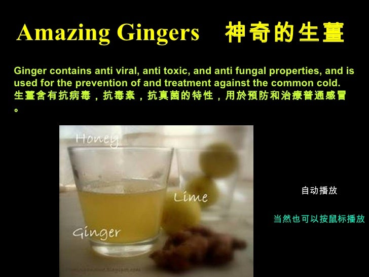 Ginger contains anti viral, anti toxic, and anti fungal properties, and is used for the prevention of and treatment agains...