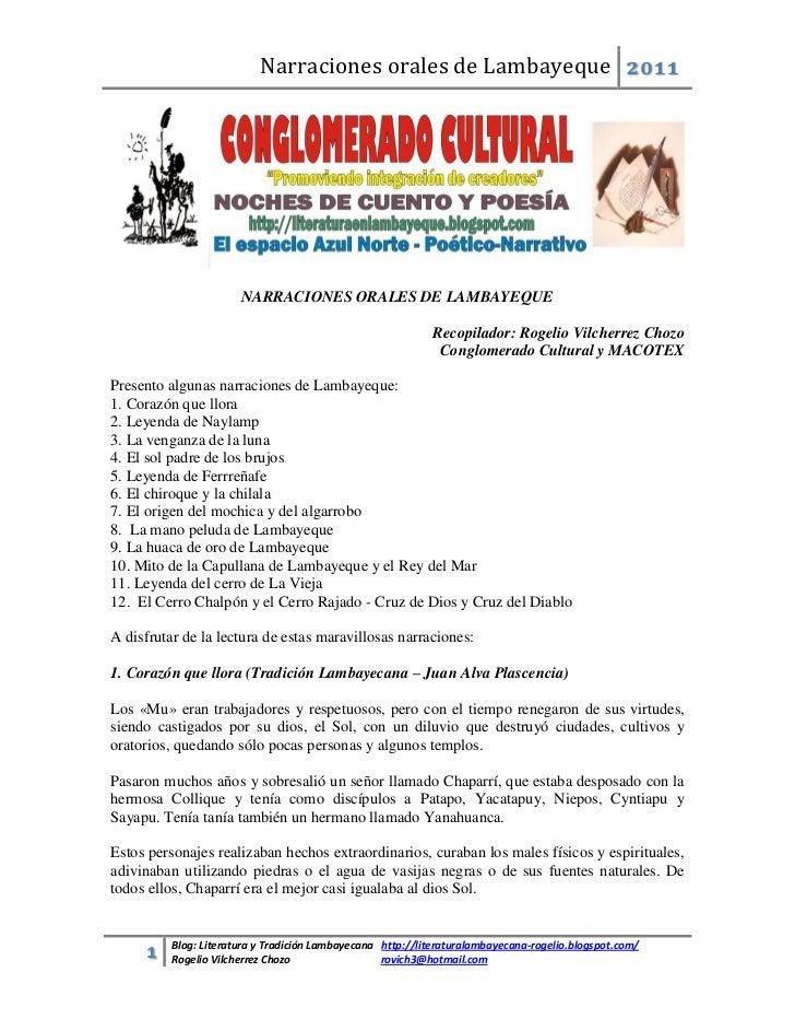 Narraciones orales de Lambayeque 2011                       NARRACIONES ORALES DE LAMBAYEQUE                              ...