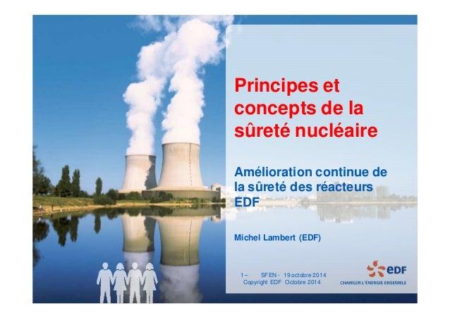 1 - Titre du document - 19/11/2014  Principes et  concepts de la  sûreté nucléaire  Amélioration continue de  la sûreté de...