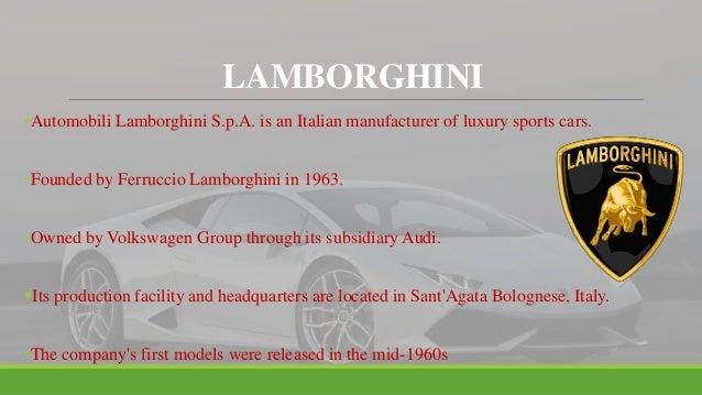 MARKETING STRATEGIES OF LAMBORGHINI Slide 2