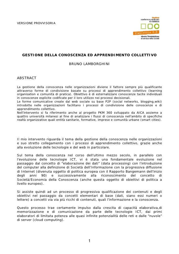 VERSIONE PROVVISORIA   GESTIONE DELLA CONOSCENZA ED APPRENDIMENTO COLLETTIVO                                   BRUNO LAMBO...