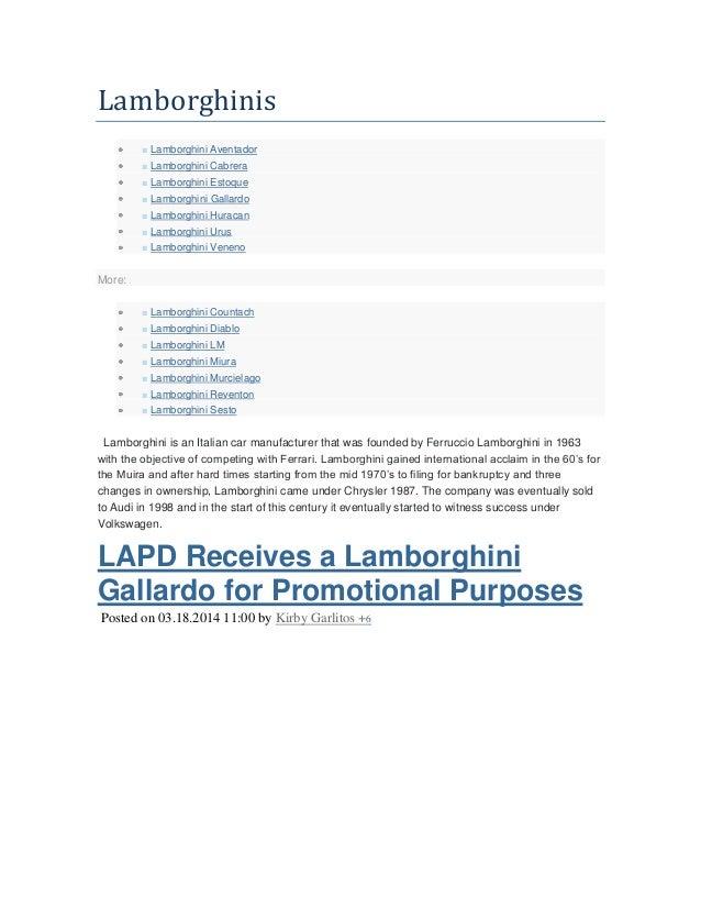 Lamborghinis ■ Lamborghini Aventador ■ Lamborghini Cabrera ■ Lamborghini Estoque ■ Lamborghini Gallardo ■ Lamborghini Hura...