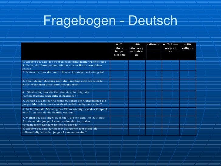 Fragebogen - Deutsch