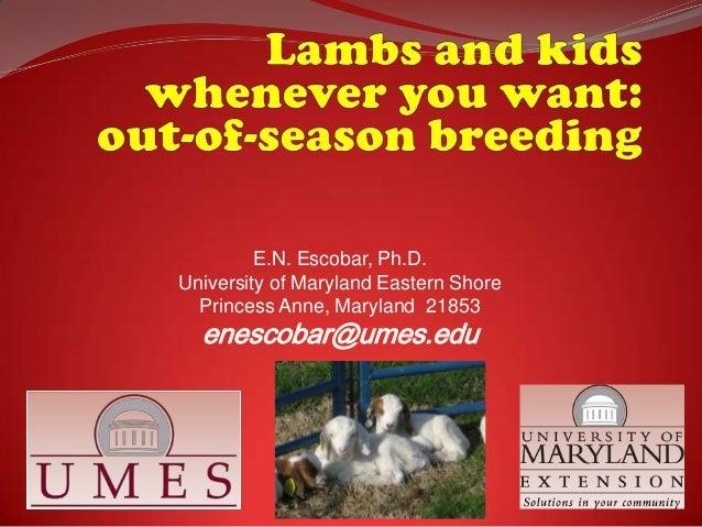 E.N. Escobar, Ph.D. University of Maryland Eastern Shore Princess Anne, Maryland 21853  enescobar@umes.edu