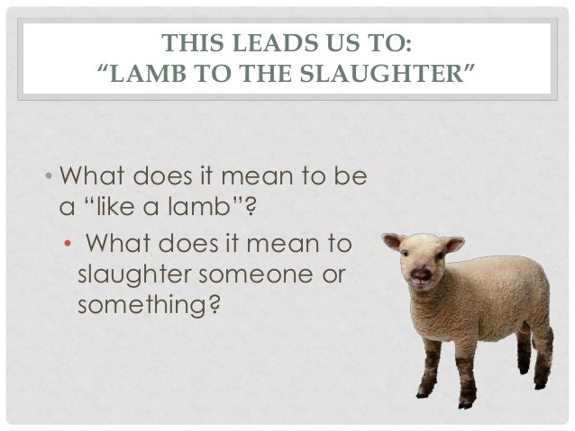 analysis of lamb to the slaughter Free essay: a tale of the unexpected is lamb to the slaughter by roald dahl the story has a twist in the tale ending in which a loving wife gruesomely.