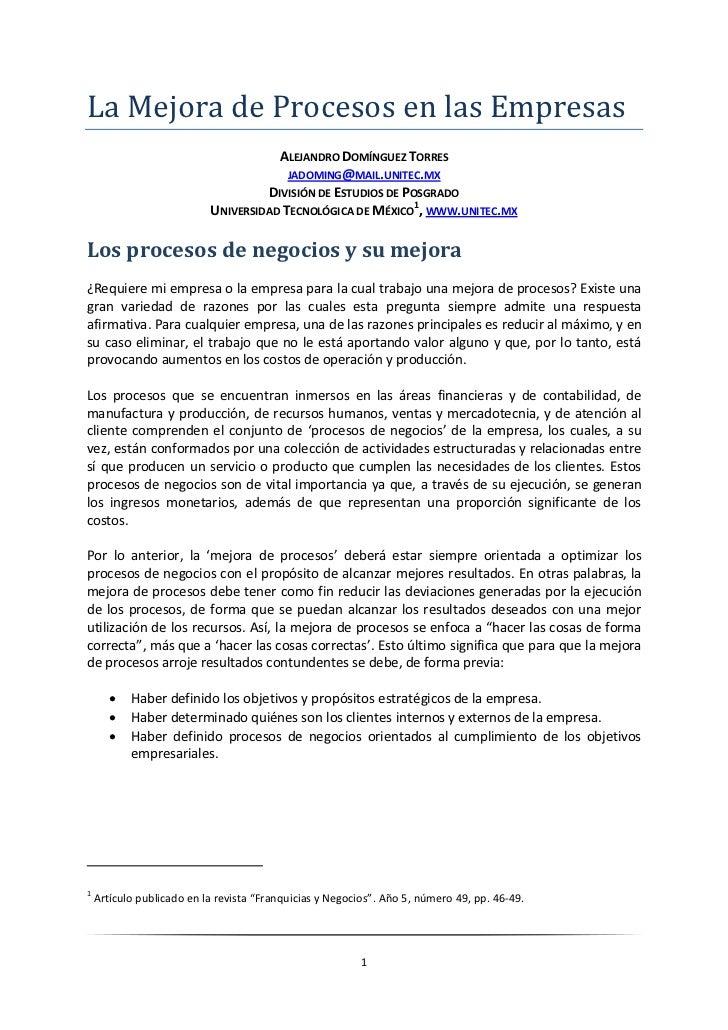 La Mejora de Procesos en las Empresas                                       ALEJANDRO DOMÍNGUEZ TORRES                    ...