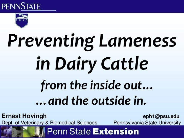 Preventing Lameness     in Dairy Cattle              from the inside out…              …and the outside in.Ernest Hovingh ...