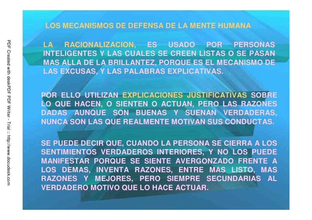 LOS MECANISMOS DE DEFENSA DE LA MENTE HUMANAPDF Created with deskPDF PDF Writer - Trial :: http://www.docudesk.com        ...