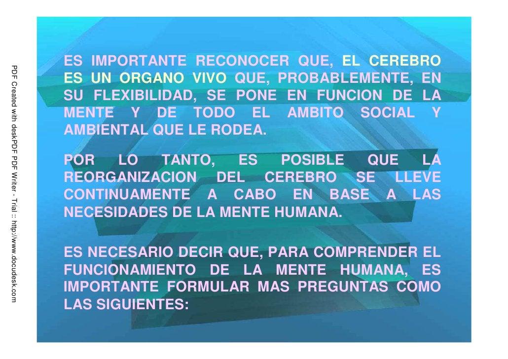 ES IMPORTANTE RECONOCER QUE, EL CEREBROPDF Created with deskPDF PDF Writer - Trial :: http://www.docudesk.com             ...